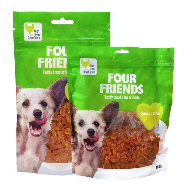 FourFriends Chicken Cube. Belöningsgodis för hund. Kycklingsmak. 100g och 400g.