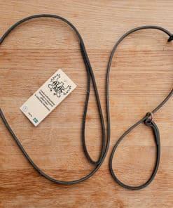 ALAC Utställningskoppel i svart läder med ring och stopp. 160 cm lång, 6 mm bred.